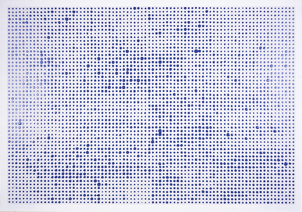 Jo McGonigal, Blue Dots on Graph Paper (2010)